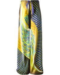Roberto Cavalli Wide Leg Tie Printed Trousers - Lyst