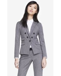 Express Tweed Faux Double Breasted Jacket - Lyst