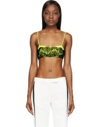 Christopher Kane Black and Chartreuse Lace Overlay Bralette - Lyst