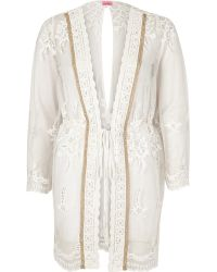 River Island | White Embellished Lace Cover-up Kaftan | Lyst