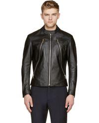 Maison Margiela Black Leather Silver Zippered Racer Jacket - Lyst