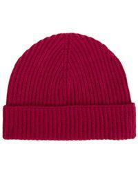 Johnstons - Dark Pink Ribbed Cashmere Hat - Lyst