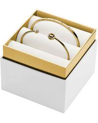 Michael Kors Pavé and Logo Gold-tone Bracelet Set - Lyst