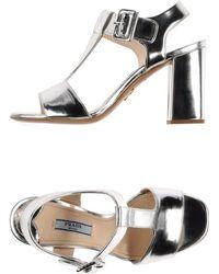 Prada Silver Sandals - Lyst