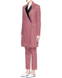 Victoria Beckham | Ribbon Check Satin Lapel Tailored Coat | Lyst