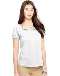 Ralph Lauren Embroidered Smocked Cotton Top - Lyst