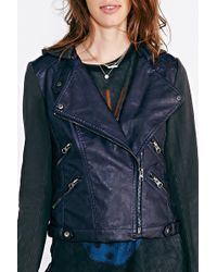 Silence + Noise Silence + Noise Vegan Leather + Fleece Moto Jacket - Lyst