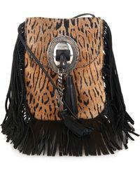Saint Laurent - Anita Calf-hair And Leather Fringed Shoulder Bag - Lyst