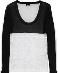 Just Cavalli Paneled Burnout-Effect Knit Sweater - Lyst
