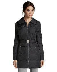 DKNY Black Woven Blakely Belted 34 Length Jacket - Lyst