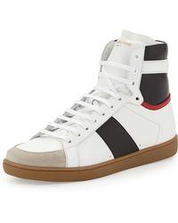 Saint Laurent Tricolor Leather High-Top Sneaker - Lyst