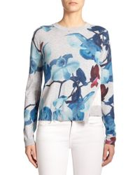 Yigal Azrouël Orchid-Print Layered Sweater gray - Lyst