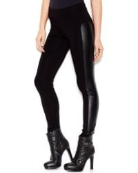 Kensie Low Rise Faux Leather Paneled Leggings - Lyst