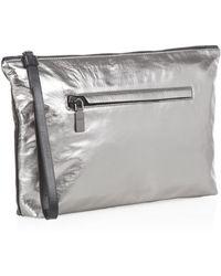 Alexander McQueen Large Metallic Zipped Pouch gray - Lyst