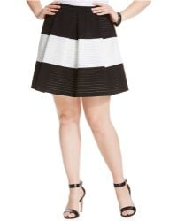 Soprano - Plus Size Striped Pleated Flare Skirt - Lyst