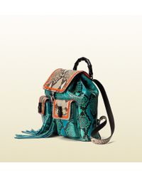 Gucci Bamboo Python Backpack - Lyst