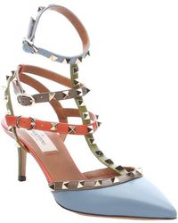 Valentino Light Blue and Orange Leather Rockstud Strappy Pumps - Lyst