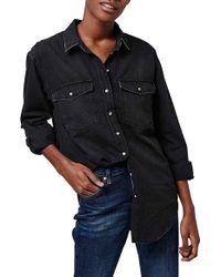 Topshop | Moto 'elton' Oversize Denim Shirt | Lyst