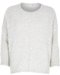 River Island Cream Boucle Knit Jumper - Lyst
