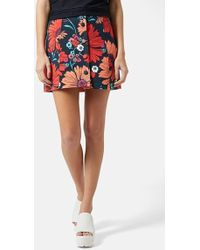 Topshop Button Front Floral Skirt - Lyst