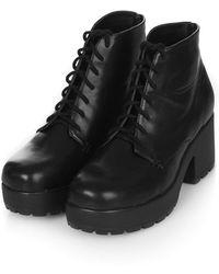 Topshop Brit Lace Up Boots  Black - Lyst