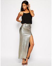 Tfnc Maxi Dress with Metallic Skirt  Thigh Split - Lyst