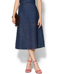 Cynthia Rowley Denim Mesh Midi Skirt - Lyst