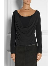 Donna Karan New York Draped Stretchsilk Crepe De Chine and Jersey Top - Lyst