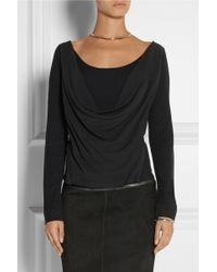 Donna Karan New York Draped Stretch-Silk Crepe De Chine And Jersey Top - Lyst