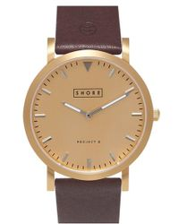 Shore Projects - 'abersoch' Leather Strap Watch - Lyst