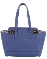 Ferragamo Blue China Leather 'Verve' Zip Detail Tote Bag - Lyst