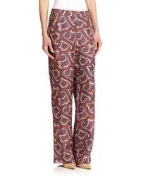 Theory Mitrana Printed Silk Pants multicolor - Lyst
