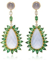 Pamela Huizenga - 18K Gold Earrings With Blue Chalcedony, Tsavorites, And Diamonds - Lyst