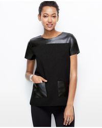 Ann Taylor Petite Faux Leather Pocket Top - Lyst