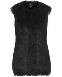 Topshop Long Faux Fur Gilet - Lyst