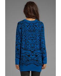 Torn By Ronny Kobo - Randy Puffy Leopard Sweater in Blue - Lyst