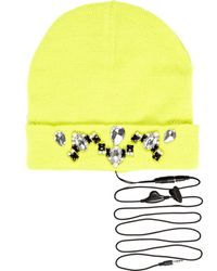 River Island Lime Skinnydip Gem Stone Headphone Beanie - Lyst