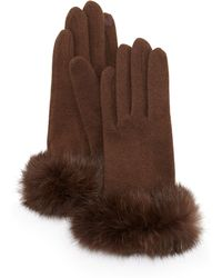 Portolano Fur-cuff Knit Tech Gloves - Lyst