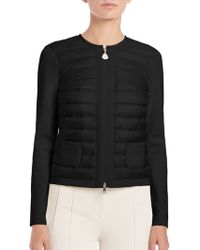 Moncler | Mixed-media Zip-front Sweater | Lyst