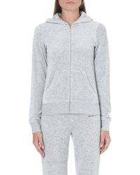 Juicy Couture Branded Velour Zipthrough Hoody Silver Lining Slvl - Lyst