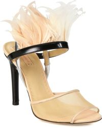 Reed Krakoff Feathered Leather Slingback Sandals - Lyst