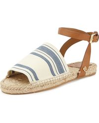 Tory Burch Stretch-Canvas Espadrille Sandal - Lyst