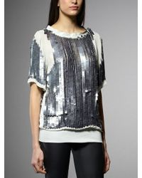 Patrizia Pepe Short Sleeve Tunic With Sequins - Lyst