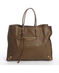Balenciaga Moss Green Gold Buckle Large Tote Bag - Lyst
