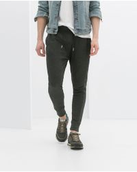 Zara Gray Cotton Trousers - Lyst