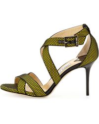 Jimmy Choo Louise Honeycomb Crisscross Sandal - Lyst