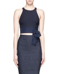 Elizabeth and James | 'eniko' Silk Pleat Waist Tie Cropped Top | Lyst
