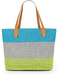 Saks Fifth Avenue Striped Straw Tote - Lyst