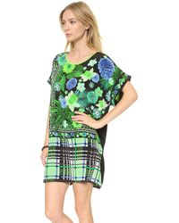 Emma Cook - Kaftan Dress Floral Check Green - Lyst