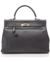 Hermes Pre-owned Graphite Buffalo Kelly 35cm Palladium Hardware Bag - Lyst